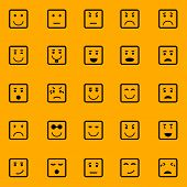 Square Face Icons On Orange Background