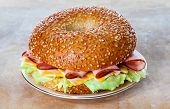 Ham and Cheese Bagel Sandwich