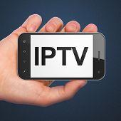 SEO web design concept: IPTV on smartphone