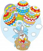 Easter Bunny flies with balloons