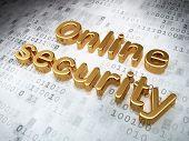 Safety concept: Golden Online Security on digital background