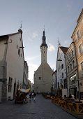 Old Church Silhouette At Evening. Old Town Of Tallinn. Estonia.