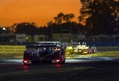Sebring, FL - Mar 13, 2014:  The Muscle Milk Pickett Racing Oreca takes to the track for a night pra