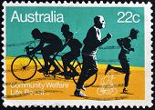 AUSTRALIA - CIRCA 1980: A stamp printed in Australia shows the Joggers and Bicyclists