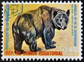 EQUATORIAL GUINEA - CIRCA 1974: Stamp printed in Guinea shows American black bear North America