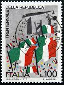 ITALY - CIRCA 1976: stamp printed in Italy shows Italian flags circa 1976