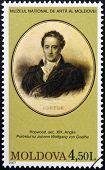MOLDOVA - CIRCA 2007: Stamp printed in Moldova shows Johann Wolfgang von Goethe