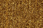 Gold seamless shimmer background with shiny golden and black paillettes. Sparkle glitter techno background. Glittering sequins club screen. Abstract technology background,