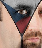 Unzipping Face To Flag Of Czech Republic