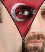 Unzipping Face To Flag Of Turkey