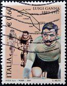 ITALY - CIRCA 2007: A stamp printed in Italy shows Luigi Ganna circa 2007