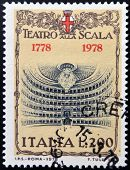 ITALY - CIRCA 1978: A stamp printed in Italy shows The Teatro alla Scala in Milan circa 1978
