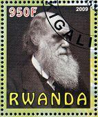 RWANDA - CIRCA 2009: stamp printed in Rwanda dedicated to Charles Darwin circa 2009