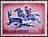 SAN MARINO - CIRCA 1961: A stamp printed in San Marino dedicated to hunting shows Hunting Roebuck