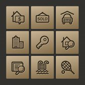 Real estate web icons, buttons set