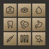 Medicine web icons, buttons set
