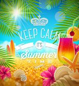 Summer holidays greeting - tropical design, vector illustration