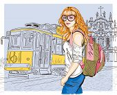 stock photo of tram  - Vector illustration of Fashion girl and old tram - JPG