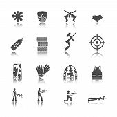 stock photo of paintball  - Paintball outdoor game black stickers icons collection isolated vector illustration - JPG
