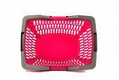 Pink plastic shopping basket isolated on white.