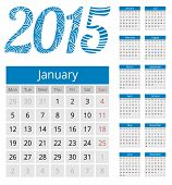stock photo of neat  - Simple european calendar grid for 2015 year - JPG