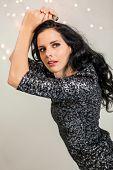 Beautiful Dreamy Woman With Glitter Dress Dancing
