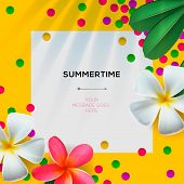 Summertime template with Floral background