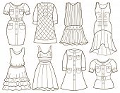 collection of fashion clothes (coloring book)