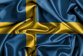 pic of sweden flag  - Satin flag three dimensional render flag of Sweden - JPG