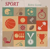 Sport vector flat retro icons
