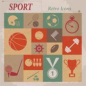 Sport vector flat retro icons
