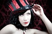 picture of rogue  - Picture of a burlesque dancer with corset and hat - JPG