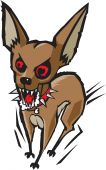 foto of rabies  - A possessed looking cartoon chihuahua foaming at the mouth - JPG