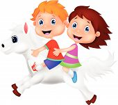 Cartoon Boy and girl riding a pony horse
