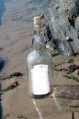 Постер, плакат: Одинокий бутылка с пустое сообщение