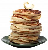 Pile of pancakes isolated on a white background