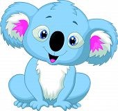 image of koala  - Vector illustration of Cute koala cartoon isolated on white background - JPG