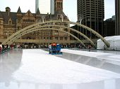 Ice resurfacing machine on public skating rink in downtown Toronto