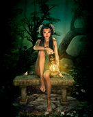 picture of pixie  - 3d computer graphics of a girl with lantern sitting on a bench in the forest - JPG