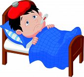 Cartoon Sick boy lying in bed