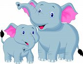 image of tusks  - Vector illustration of Mother and baby elephant cartoon - JPG