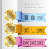 Banking Icons, Colored Infographic Ribbons
