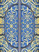 Wrought iron door decoration closeup