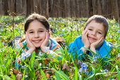 Two Kids among the bluebells