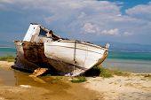 An Old Boat On A Shingle Beach