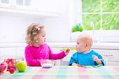 Two Children Eating Yoghurt