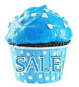 Sale concept. Tasty cupcake isolated on white
