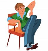 Happy Cartoon Man Sitting In Armchair In Green West And Blue Pants