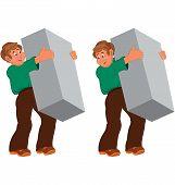 Happy Cartoon Man Standing In Green Shirt And Brown Pants Holding Big Gray Box
