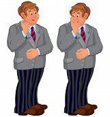 Happy Cartoon Man Standing In Striped Pants